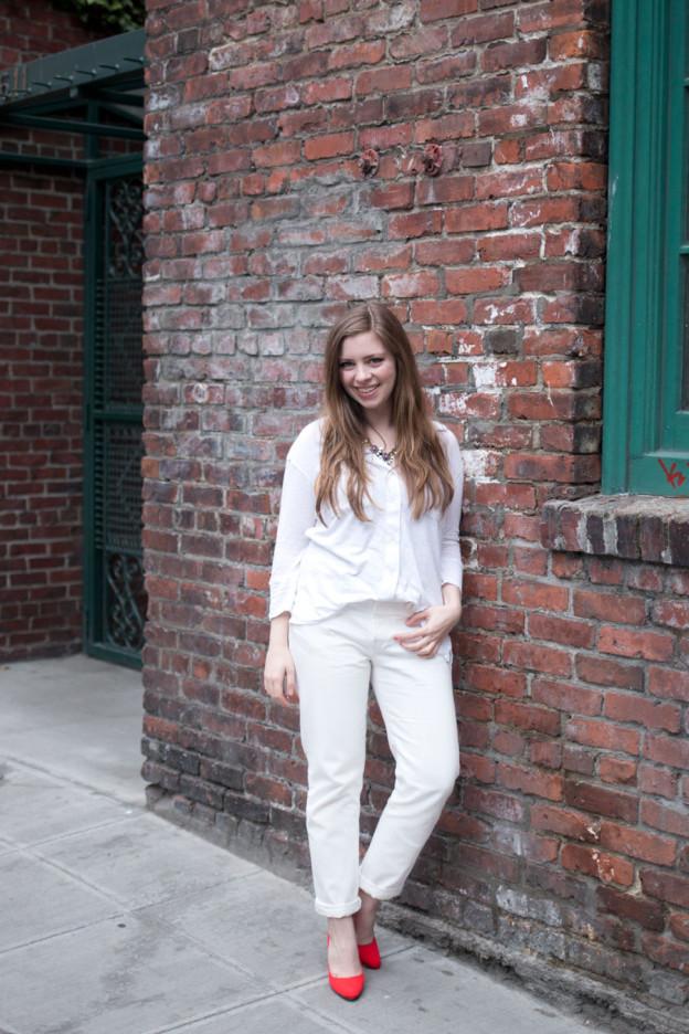 White on White Outfit: Levi's White Boyfriend Jeans, James Perse Sheer Slub Panel Shirt, SJP Lady Pumps / hellorigby seattle fashion blog