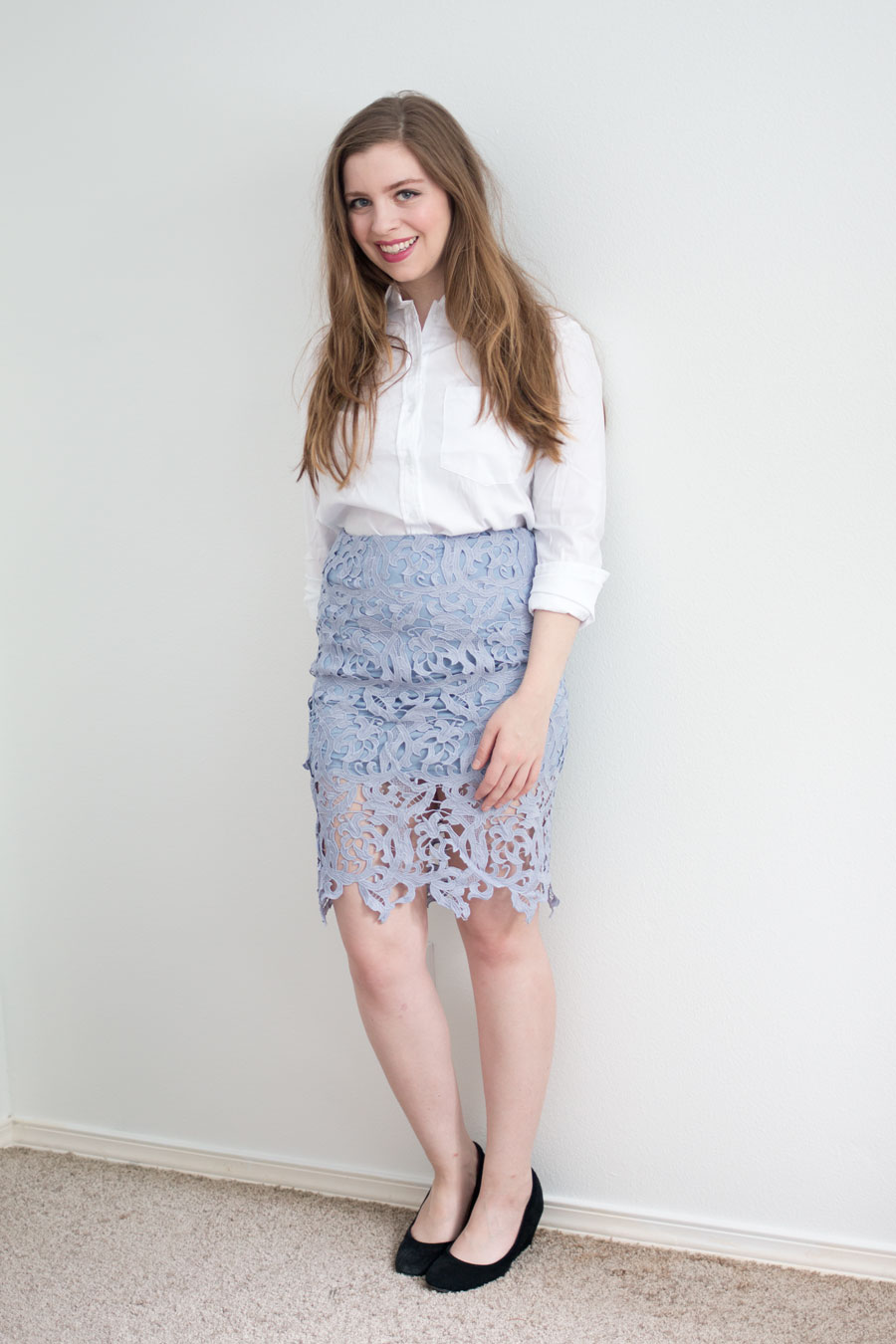 Daily Look Elite Box Review:  Carlie Dattolo Button Down and Venetian Lace Skirt in Periwinkle / hellorigby seattle fashion blog