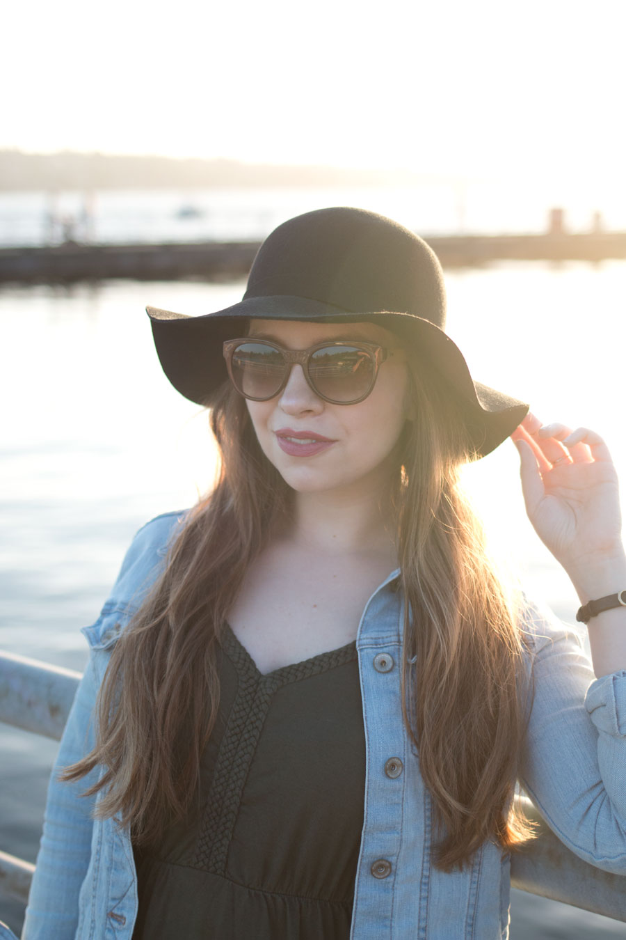 Green Maxi Dress, Jean Jacket, and Felt Hat Outfit / hellorigby seattle fashion blog