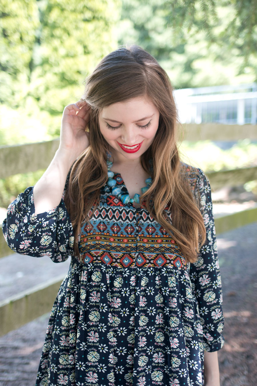 Mixed Print Bohemian Dress & Blue Ugandian Bead Necklace / hellorigby seattle fashion blog