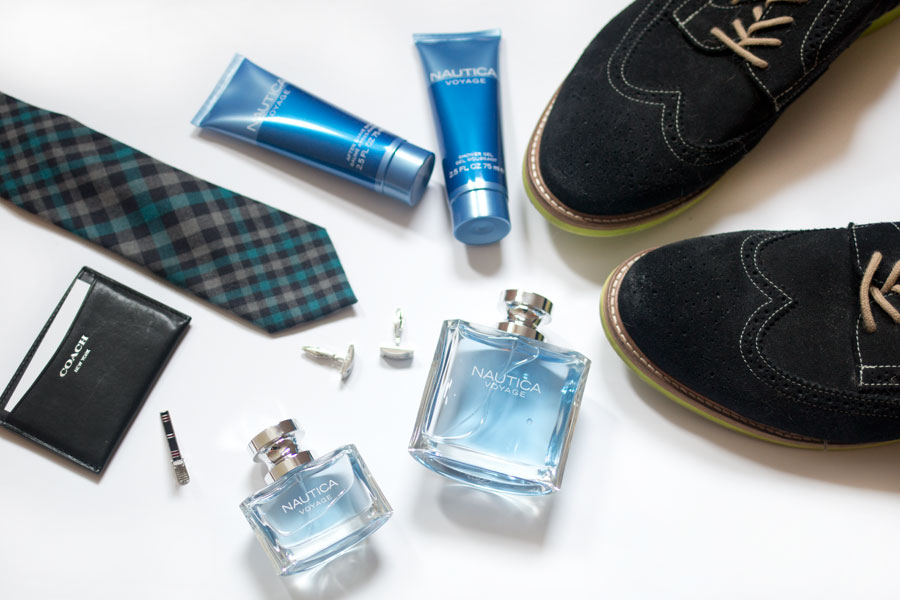 Nautica Voyage Gift Set Flat Lay with Men's Accessories & Cologne / hellorigby seattle beauty blog