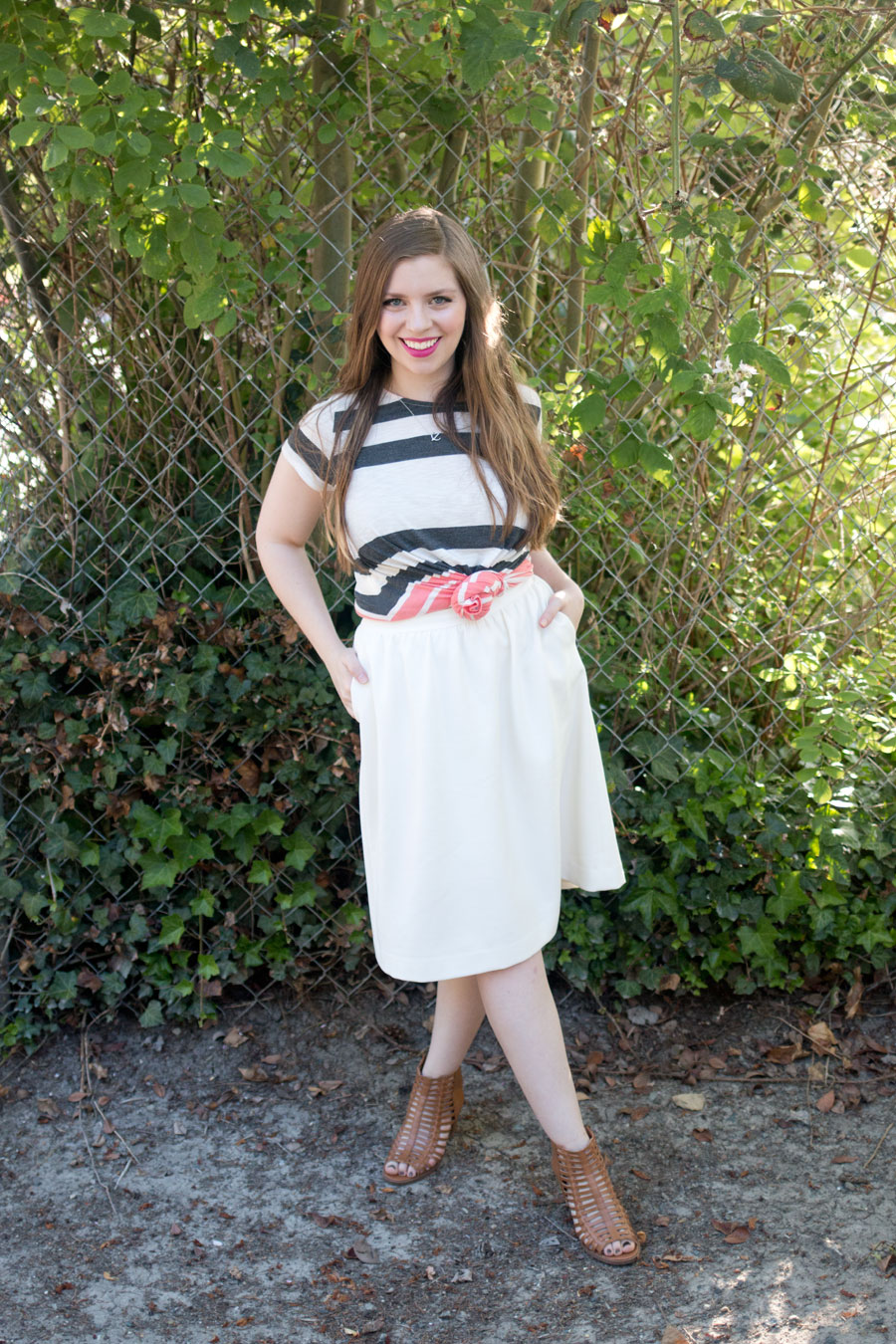 Striped Crop Top Outfit with White Skirt / hellorigby seattle fashion blog