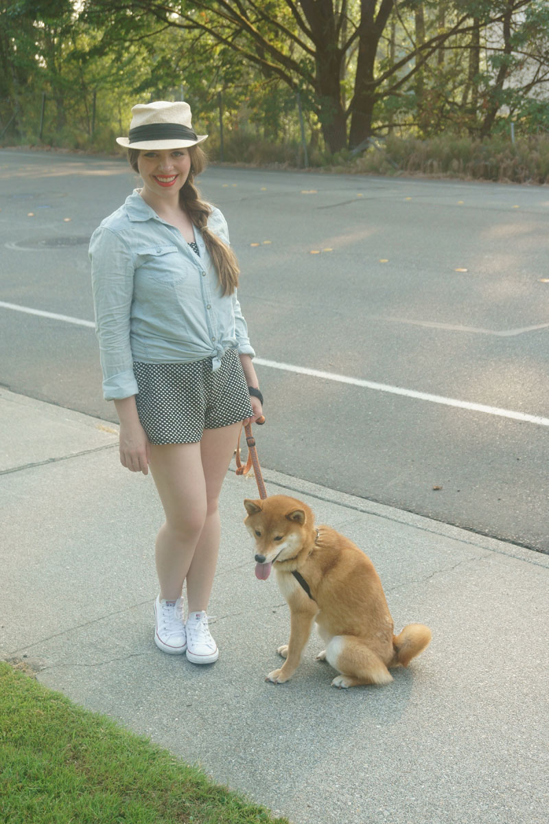 Denim Shirt, Polka Dot Romper, and White Converse Outfit / hellorigby seattle fashion blog