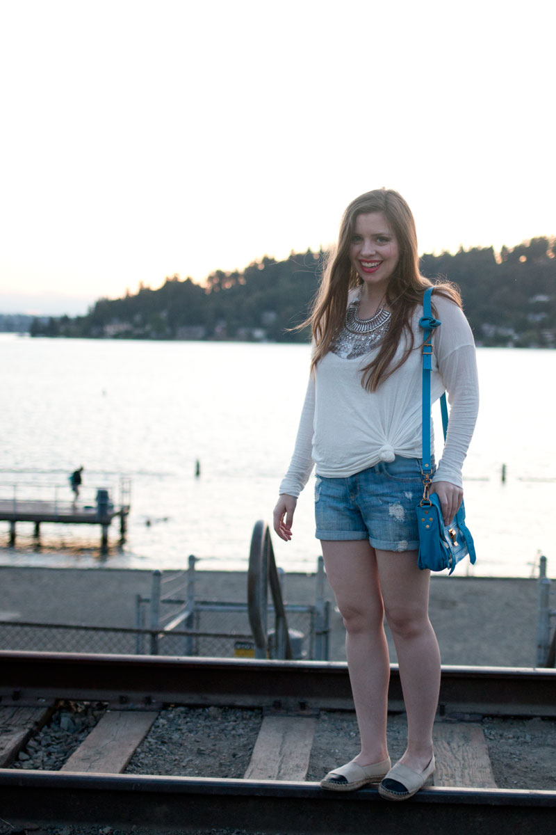 Proenza Schouler PS1 Pouch in Rip Tide with Casual Summer Outfit / hellorigby seattle fashion blog