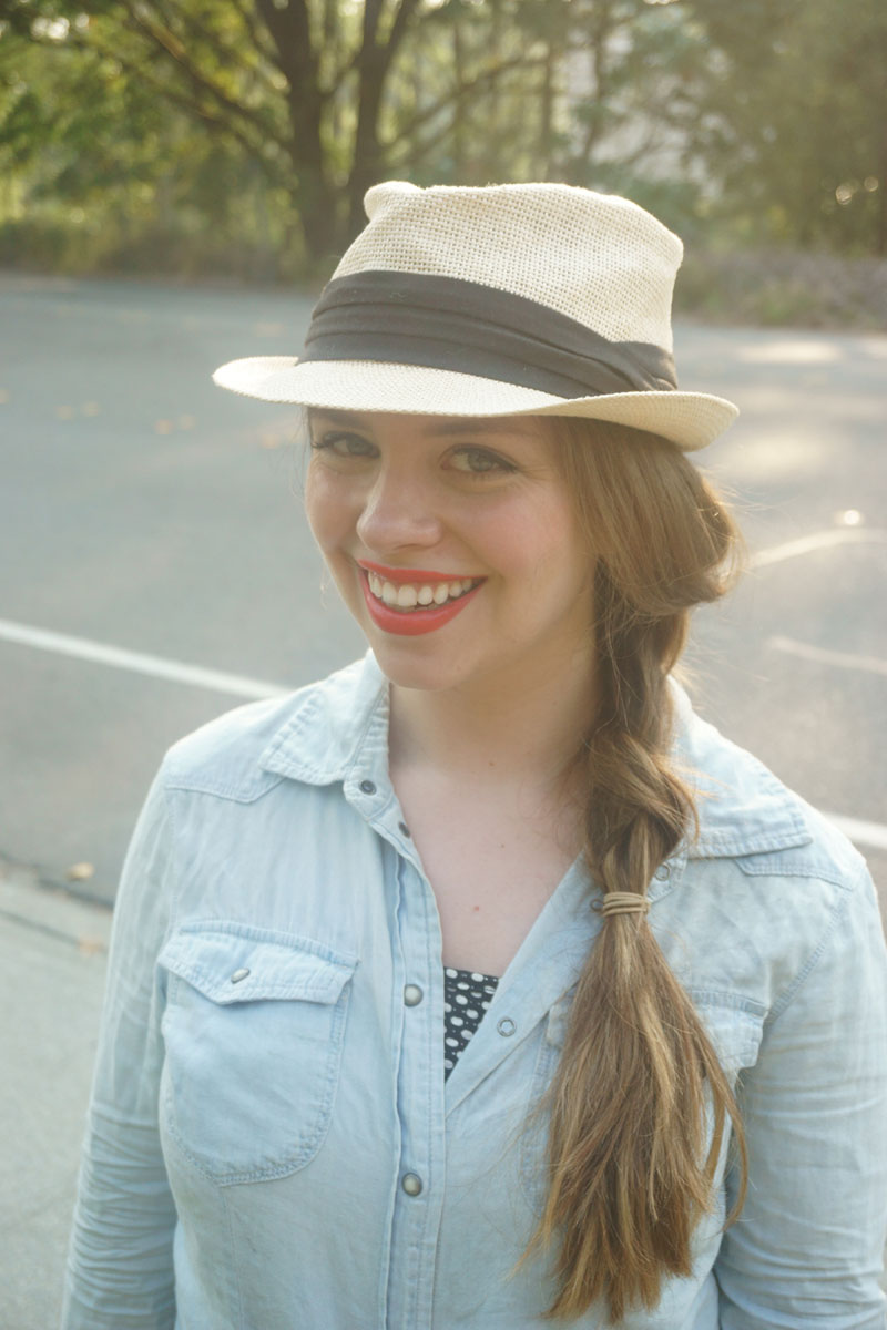 Straw Trillby, Chambray Shirt, and Polka Dot  Outfit / hellorigby seattle fashion blog