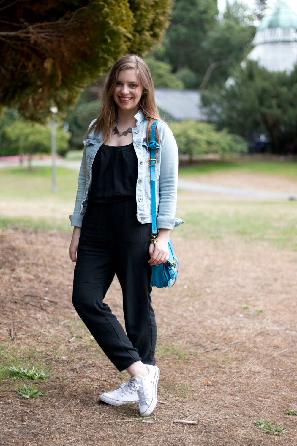 Black Jumpsuit with Denim Jacket & White Converse Outfit // hellorigby seattle fashion blog