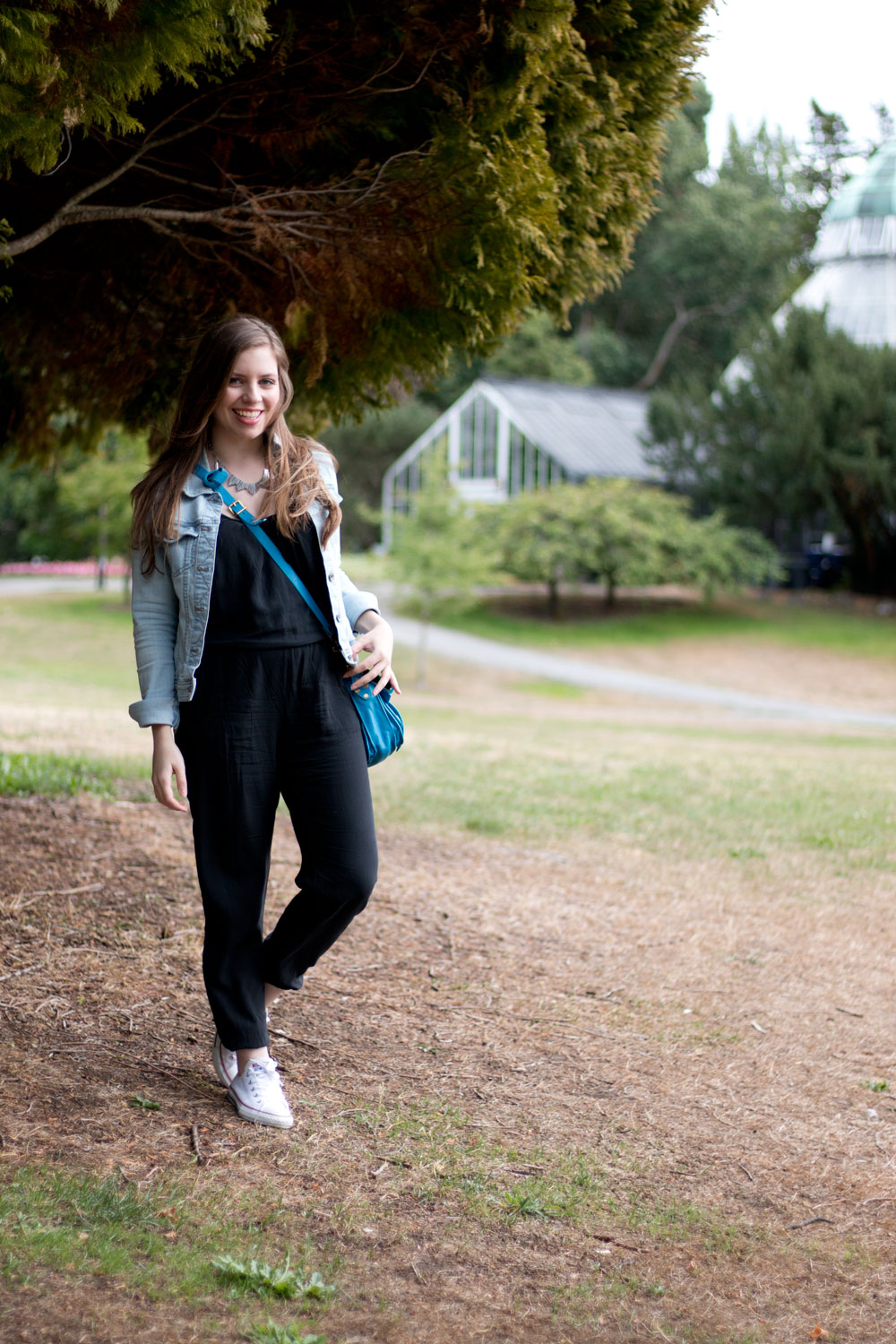 Black Jumpsuit with Denim Jacket & Proenza Schouler PS1 Pouch in Tidal Wave // hellorigby seattle fashion blog