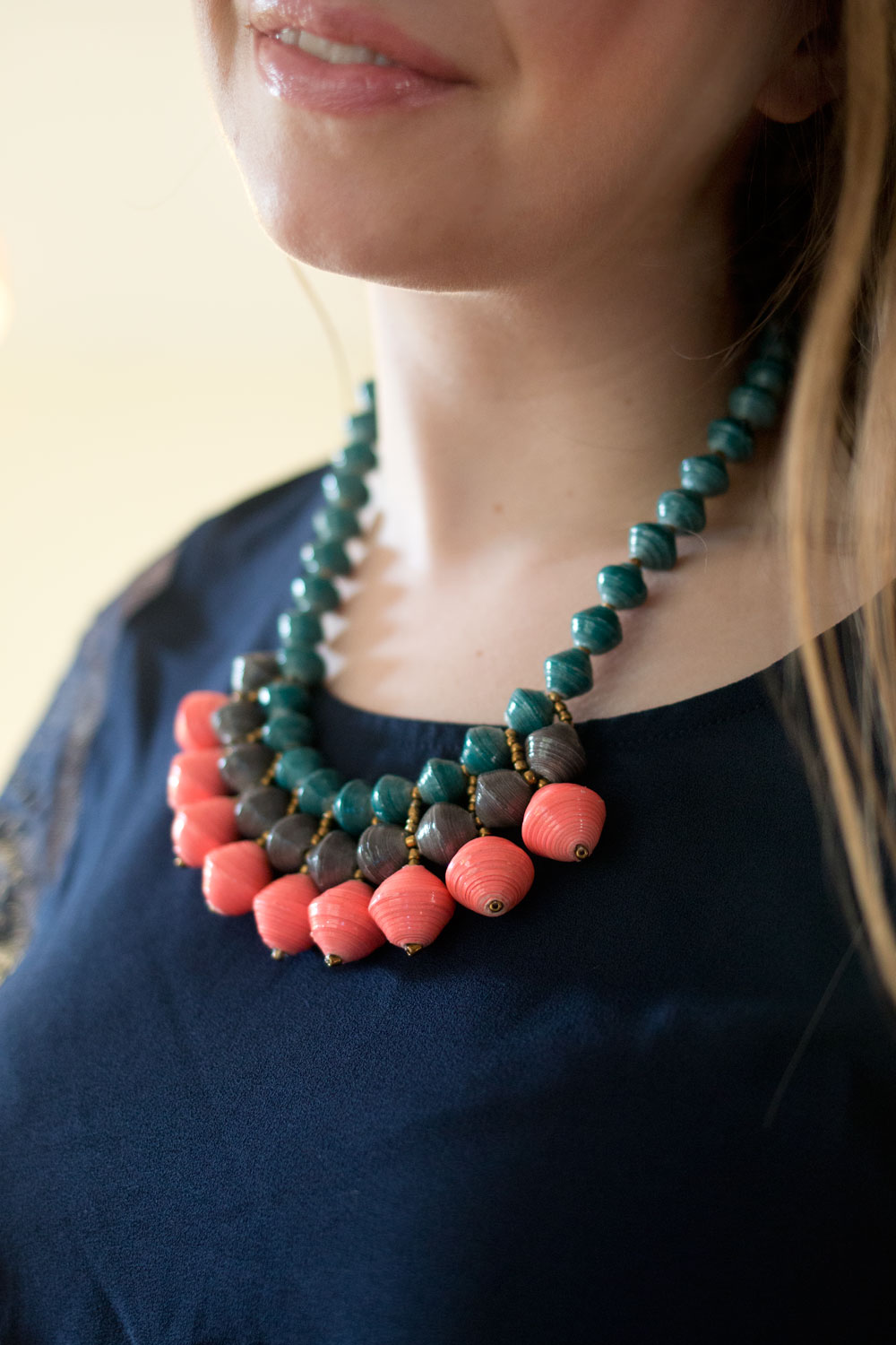Stitch Fix August 2015 Review & Styling // 31 Bits Aria Beaded Bib Necklace in Coral // hellorigby.com seattle fashion blogger