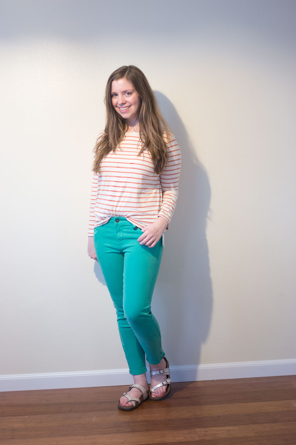 Stitch Fix August 2015 // Just Black Dean Skinny Jean Petite in Dark Green // hellorigby.com seattle fashion blogger