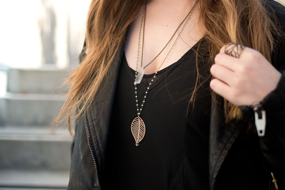 Cutie Gems Leaf Necklace, Belle Hibou Crystal Layered Necklaces // hellorigby seattle fashion blog