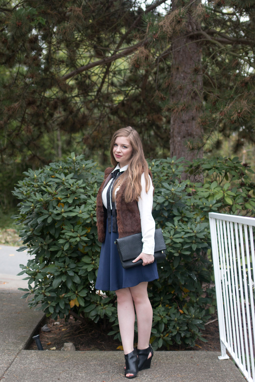 Fashion First Seattle // What I Wore: Fur Vest with Silk Blouse & A-Line Skirt Outfit // hellorigby seattle fashion blog