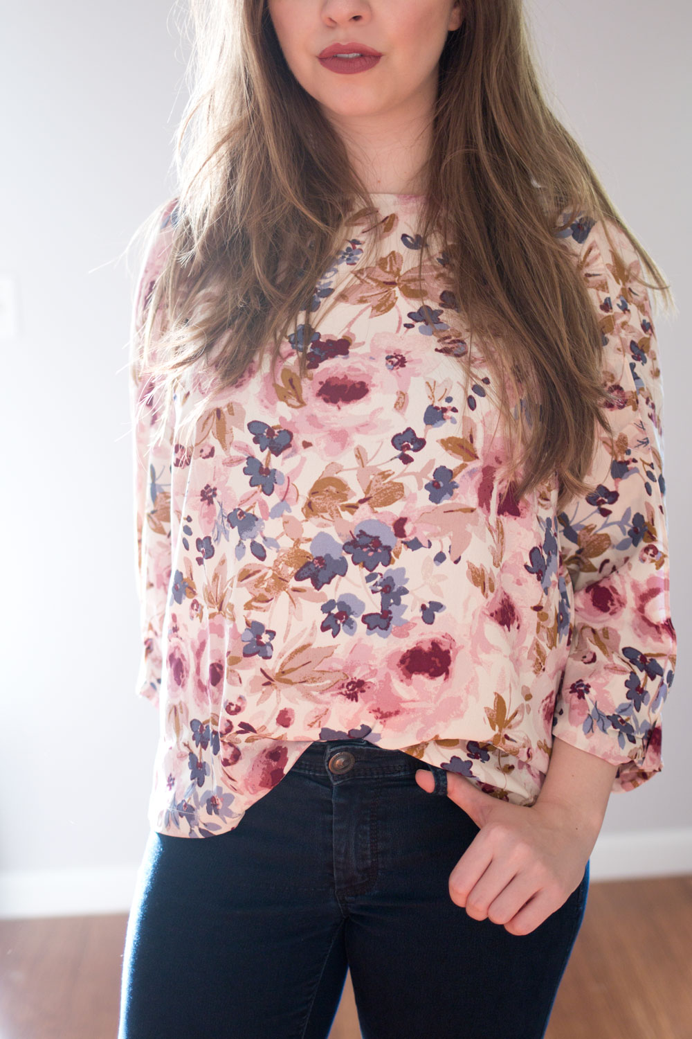 LC Lauren Conrad Runway Collection Bow Sleeve Crepe Floral Blouse // hellorigby seattle fashion blog