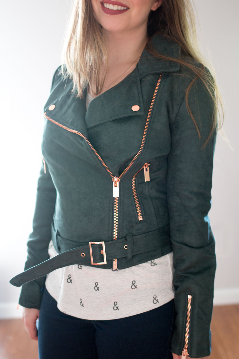 LC Lauren Conrad Runway Collection Faux Sueded Moto Jacket in Evergreen // hellorigby seattle fashion blog