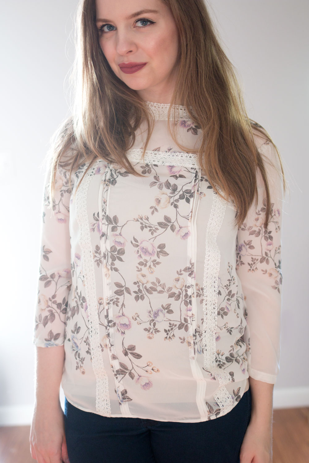 LC Lauren Conrad Runway Collection Lace Trim Blouse in Gardenia // hellorigby seattle fashion blog
