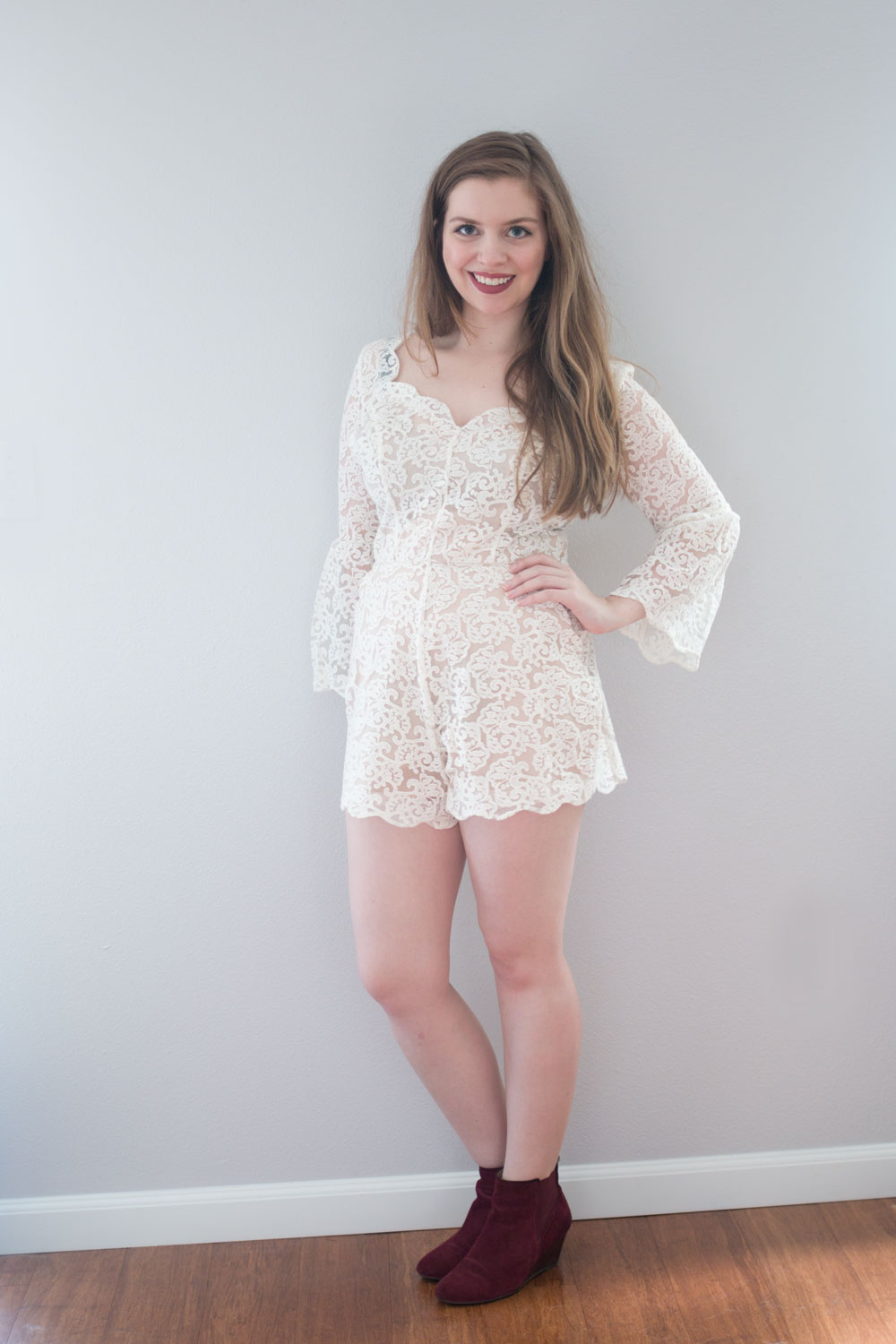 LC Lauren Conrad Runway Collection Open Back Lace Romper // hellorigby seattle fashion blog