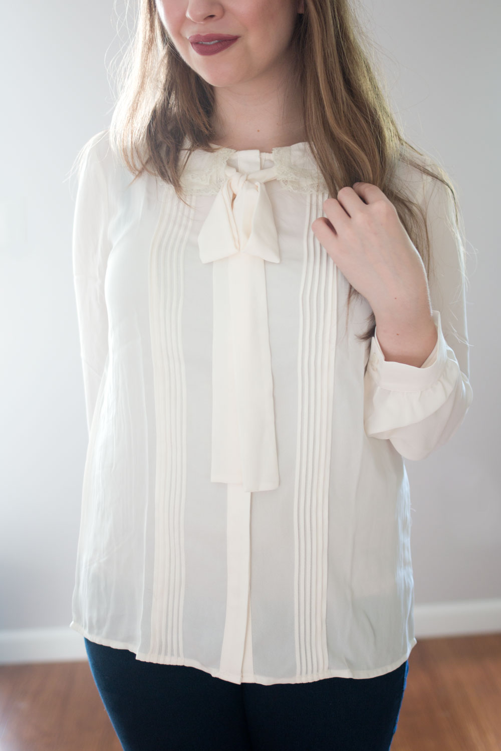 LC Lauren Conrad Runway Collection Pintuck Tie Neck Blouse // hellorigby seattle fashion blog