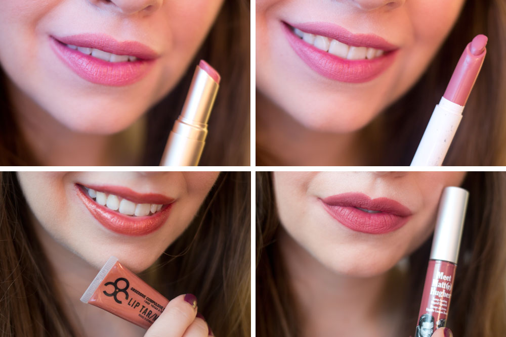 Lip Swatches: Too Faced La Creme Lipstick in Spice Spice Baby, ColourPop Lippie Stix in Lumiere, OCC Lip Tar in Metallic Authentic, The Balm Meet Matt(e) Hughes in Charming // hellorigby seattle beauty blog