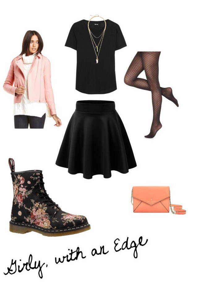 Outfits to Wear with Combat Boots: Girly with an Edge // Outfit with Combat Boots & Skater Skirt // hellorigby seattle fashion blog