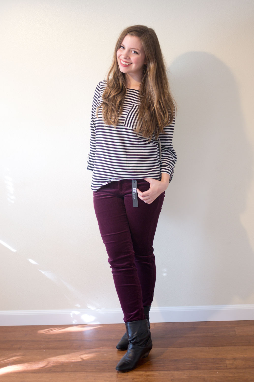 Stitch Fix September 2015 Review: 41Hawthorn Analia Striped Roll Tab Blouse & Kut from the Kloth Jonathan/Diana Corduroy Skinny in Burgundy // hellorigby seattle fashion blog