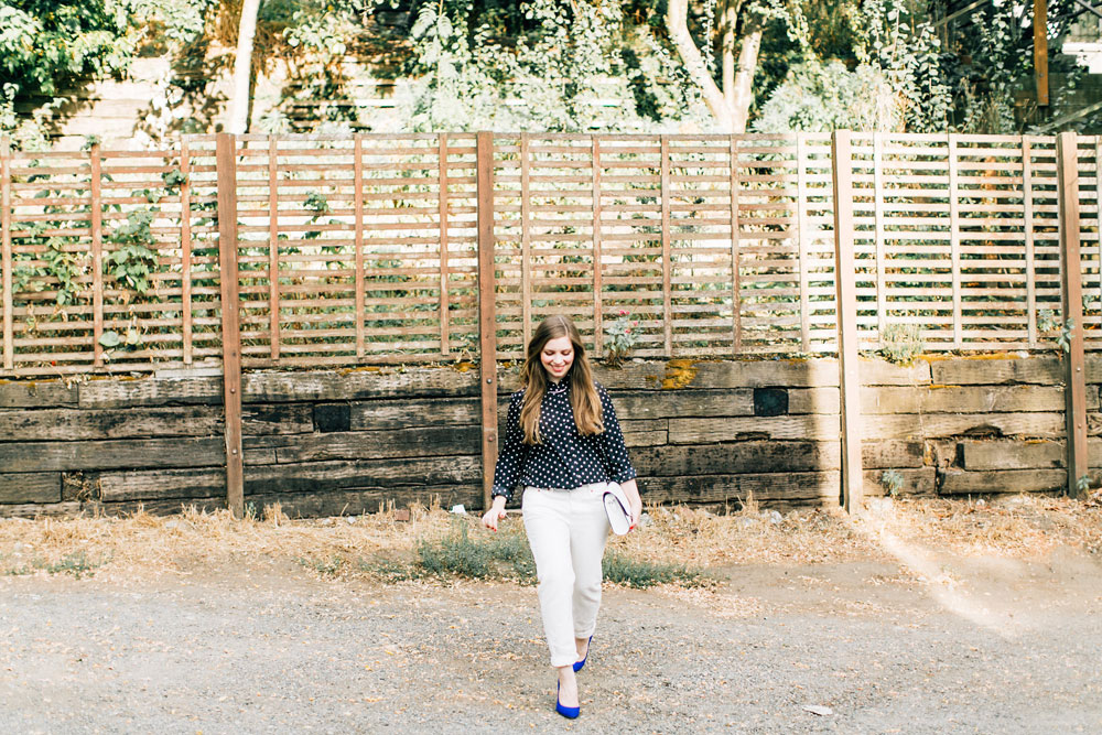 Wear White After Labor Day: Boyfriend Jeans, Polka Dot Blouse, & Cobalt Heels // hellorigby seattle fashion blog