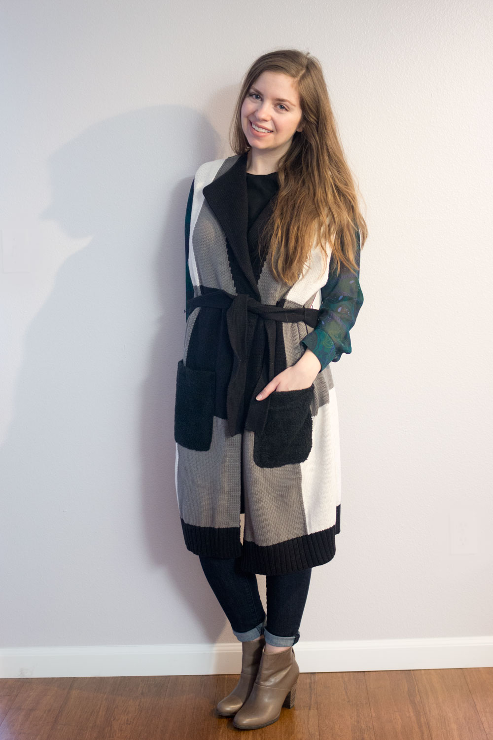 Adam Lippes for Target Belted Layering Vest in Grey & Black Plaid // hellorigby seattle fashion blog