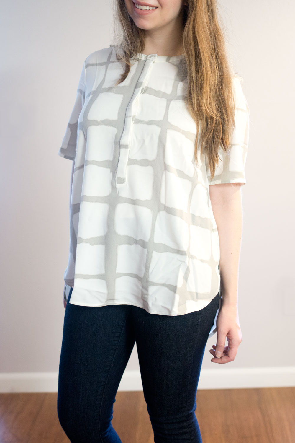 Adam Lippes for Target Button Down Crepe Blouse in Grey Painterly Plaid // hellorigby seattle fashion blog