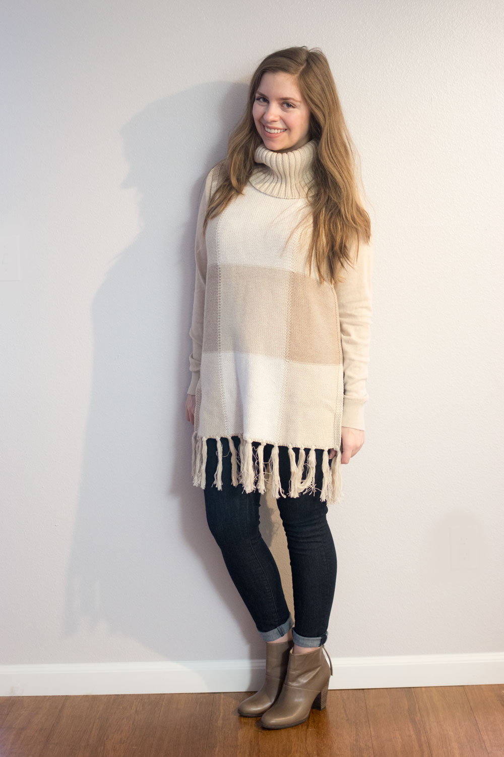 Adam Lippes for Target Cowl Neck Fringe Sweater in Oatmeal Plaid // hellorigby seattle fashion blog