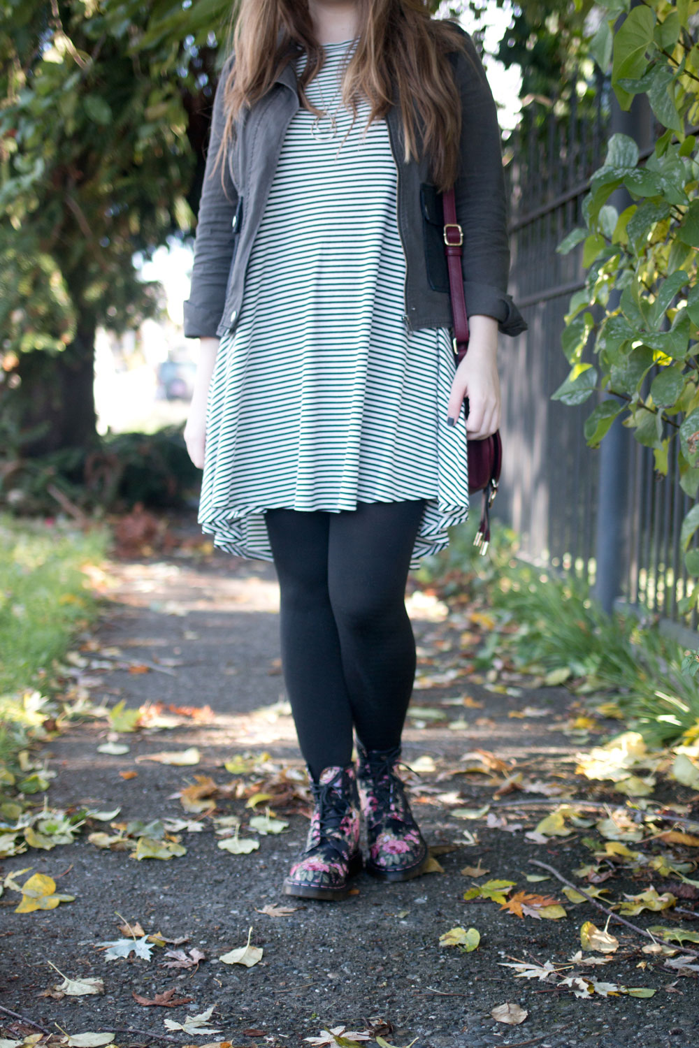 Combat Boot Outfit with Striped Dress // hellorigby seattle fashion blog