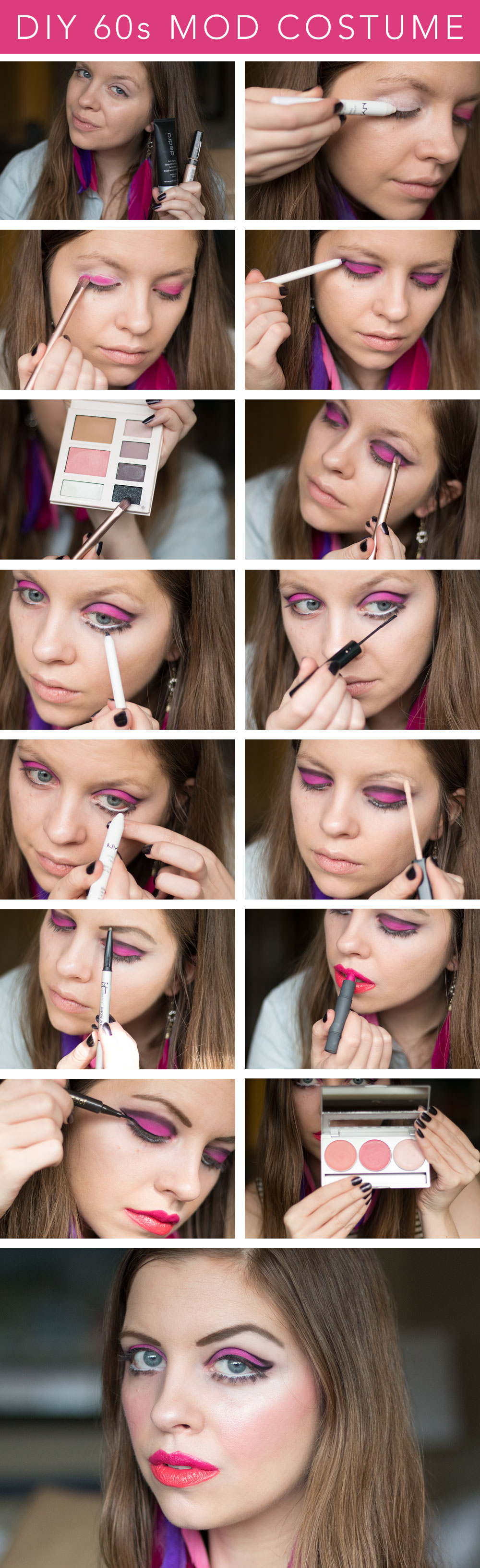 DIY 60s Mod Costume for Twiggy Inspired Look (Step by Step Makeup Tutorial) // hellorigby seattle beauty blog