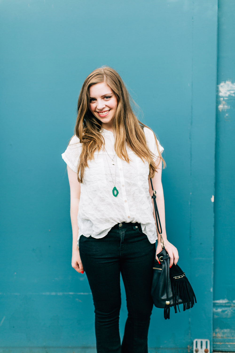 Flare Jeans Outfit with White Button Up // hellorigby seattle fashion blog