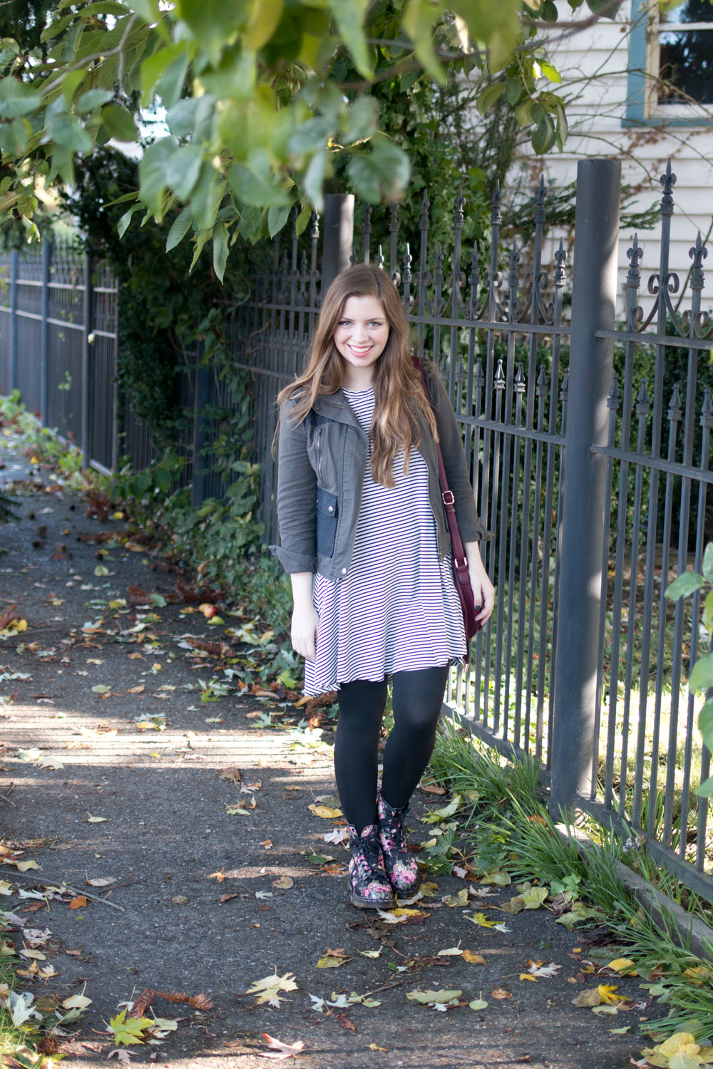 Floral Combat Boot Outfit with Stripes and Olive Jacket // hellorigby seattle fashion blog