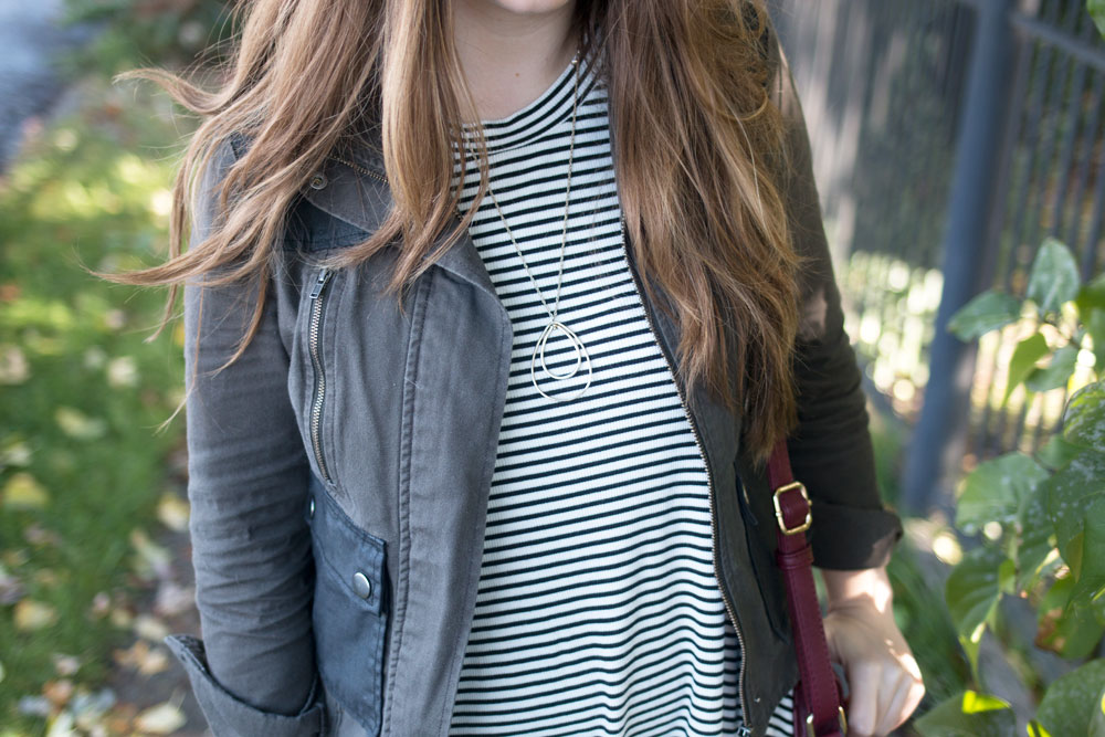 Striped Dress with Burgundy Bag and Military Jacket // hellorigby seattle fashion blog