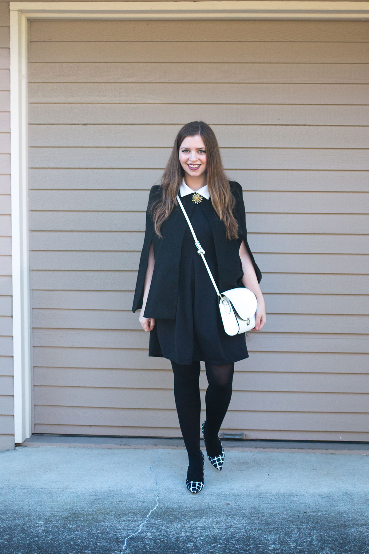 Black Cape with Collared Dress & White Accessories Outfit // hellorigby.com seattle fashion blog