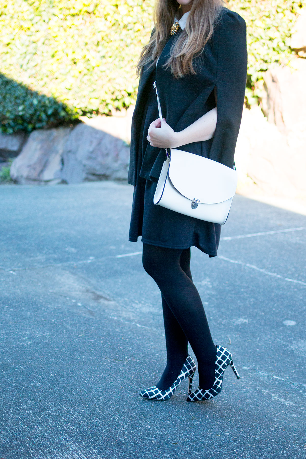 Boohoo Black Cape & Collared Dress Outfit // hellorigby.com seattle fashion blog