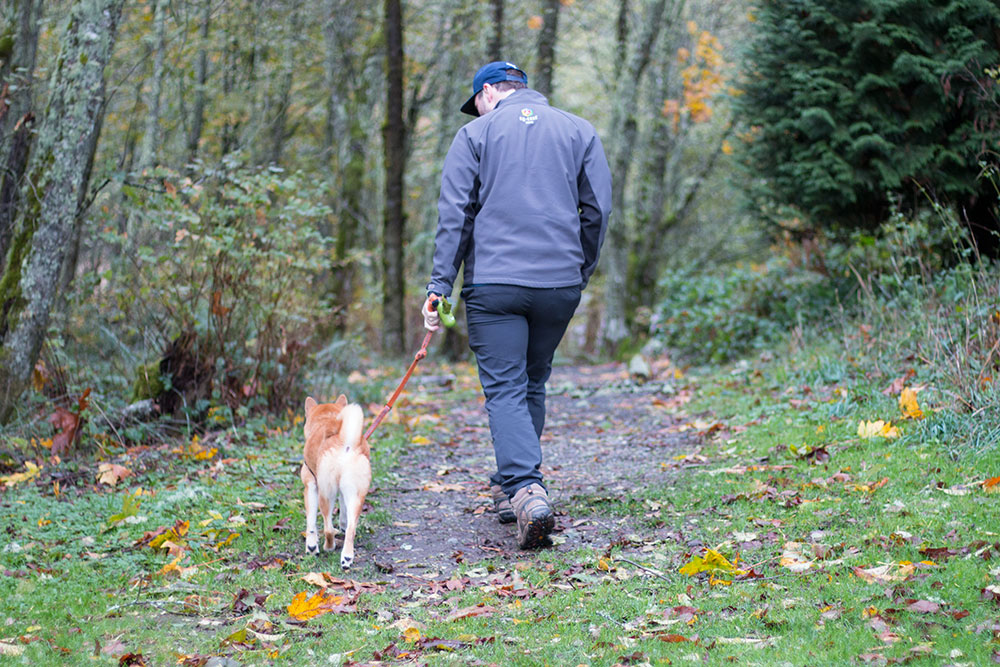 Man Walking Shiba Inu in Forest // hellorigby seattle travel blog