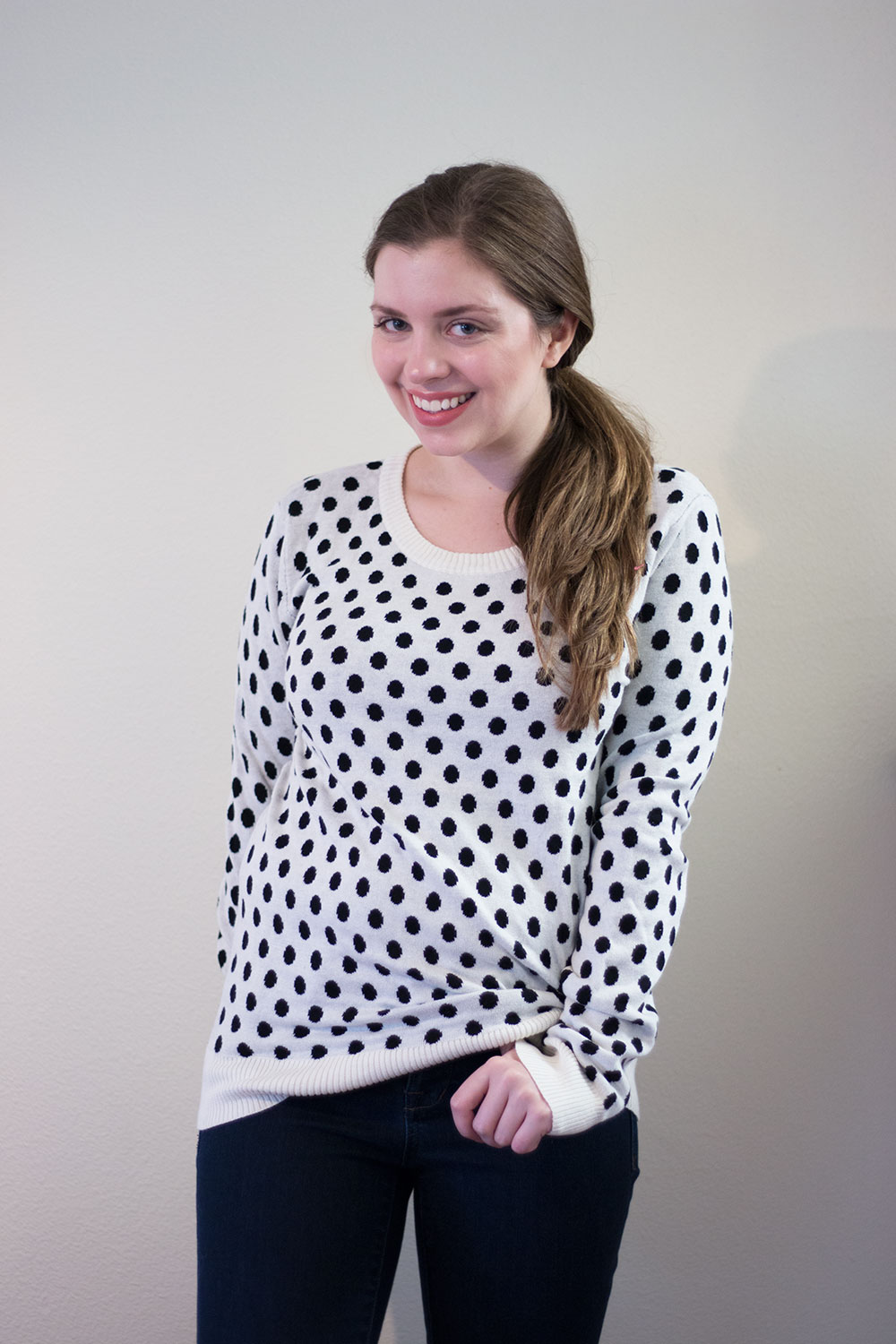 Stitch Fix November 2015: 41Hawthorn Gideon Polka Dot Sweater in Black & White // hellorigby seattle fashion blog