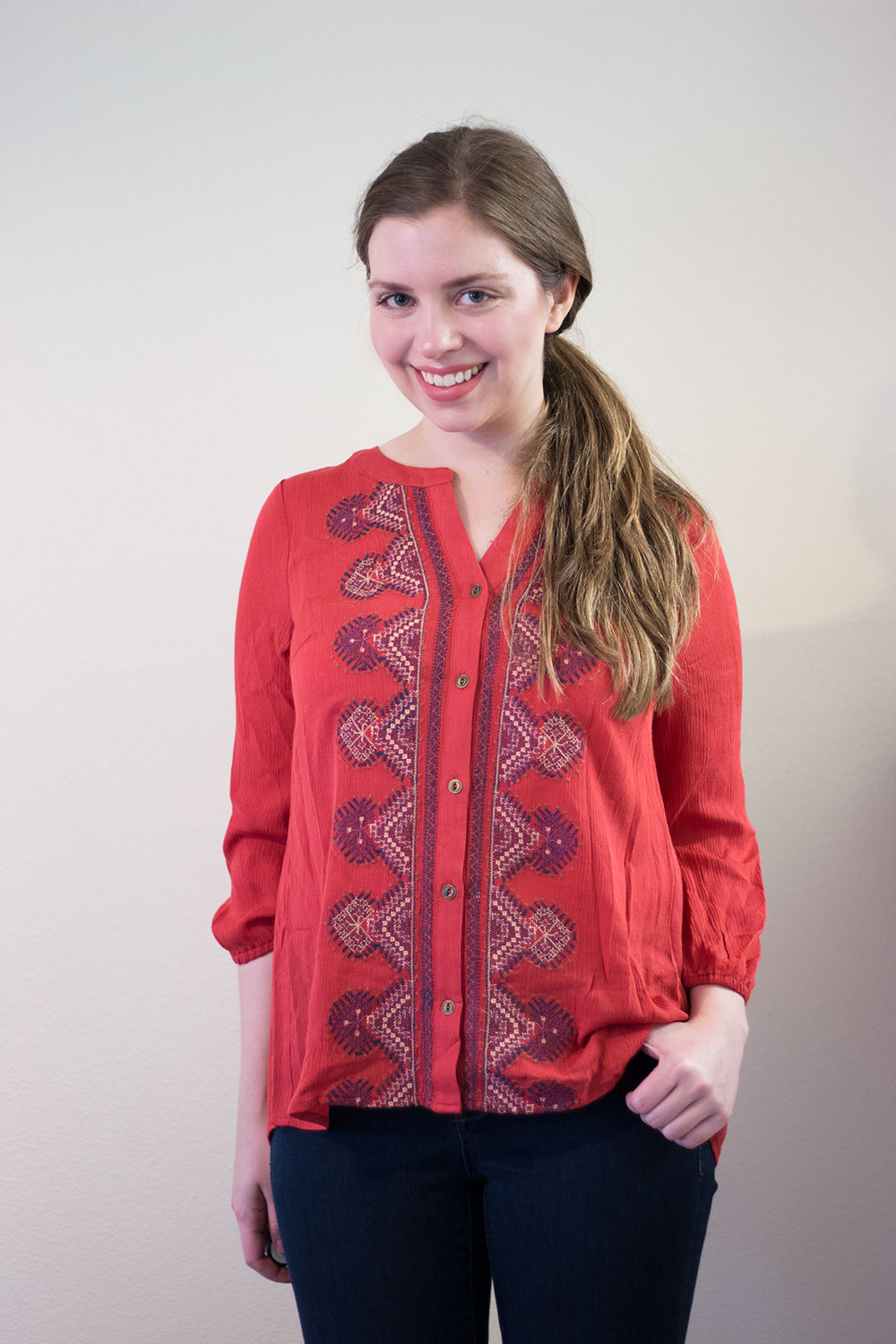 Stitch Fix November 2015: Skies are Blue Lano Embroidery Detail Top in Burnt Orange // hellorigby seattle fashion blog