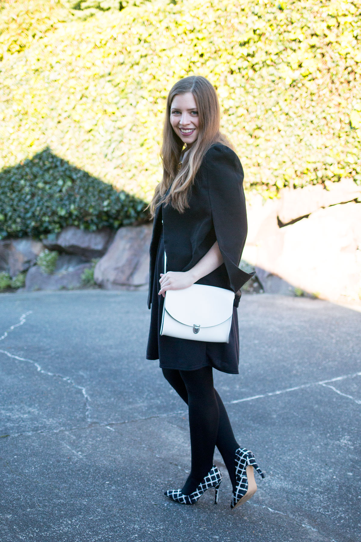 White Cambridge Satchel Company Crossbody with Black Outfit // hellorigby.com seattle fashion blog