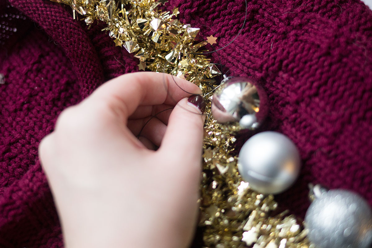 DIY Tacky Christmas Sweater: Sew Ornaments on // hellorigby.com seattle fashion blogger
