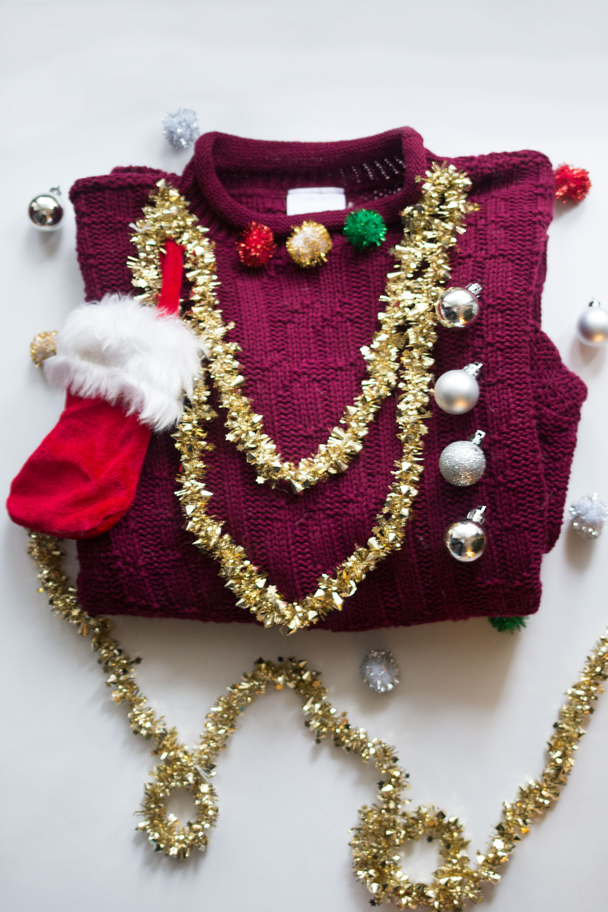 DIY Ugly Christmas Sweater for National Ugly Sweater Day // hellorigby.com seattle fashion blog