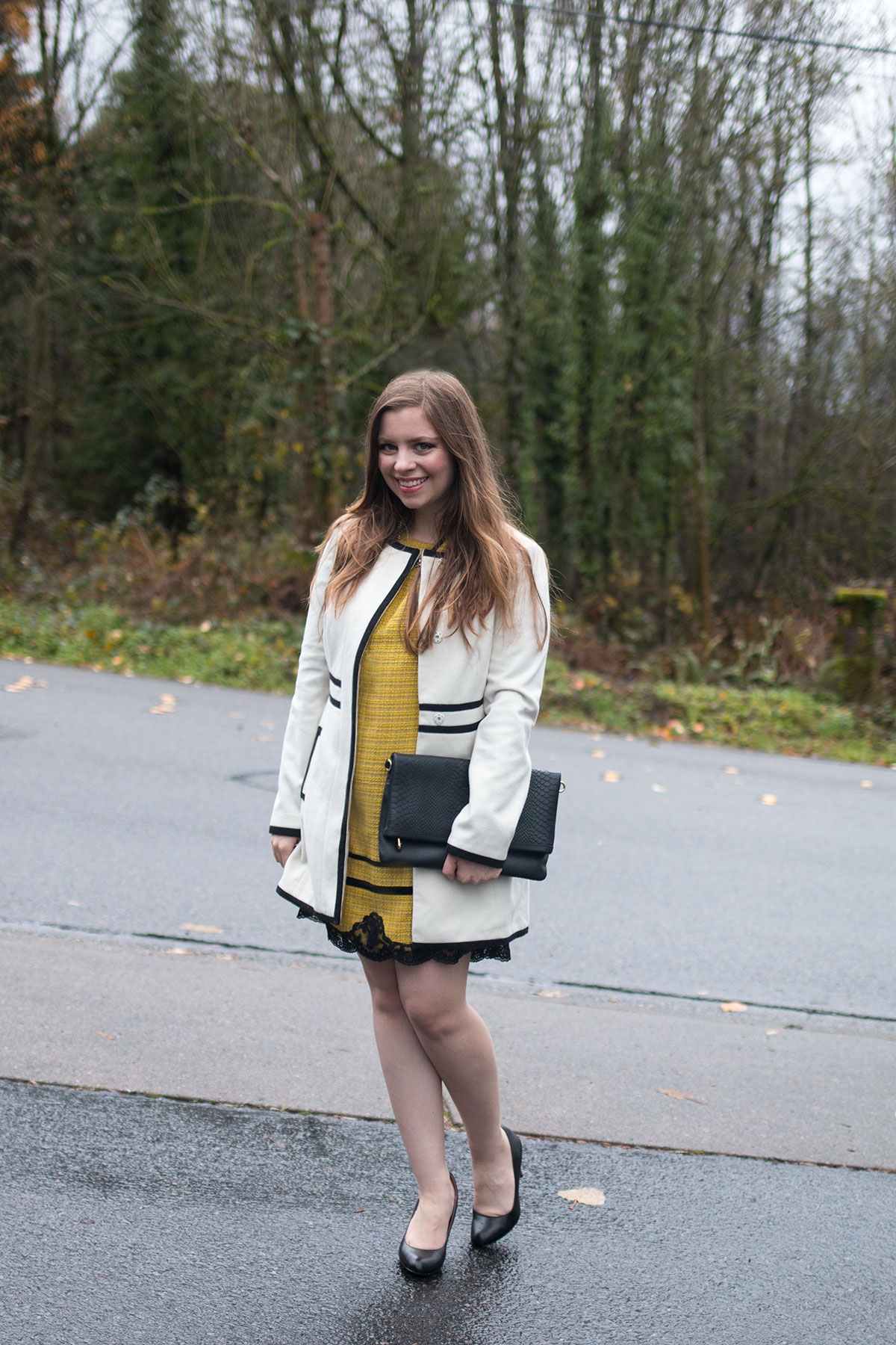 Holiday Party Outfit Ideas: Lattori Yellow Lace Trim Boucle Dress with White Coat // hellorigby.com seattle fashion blog