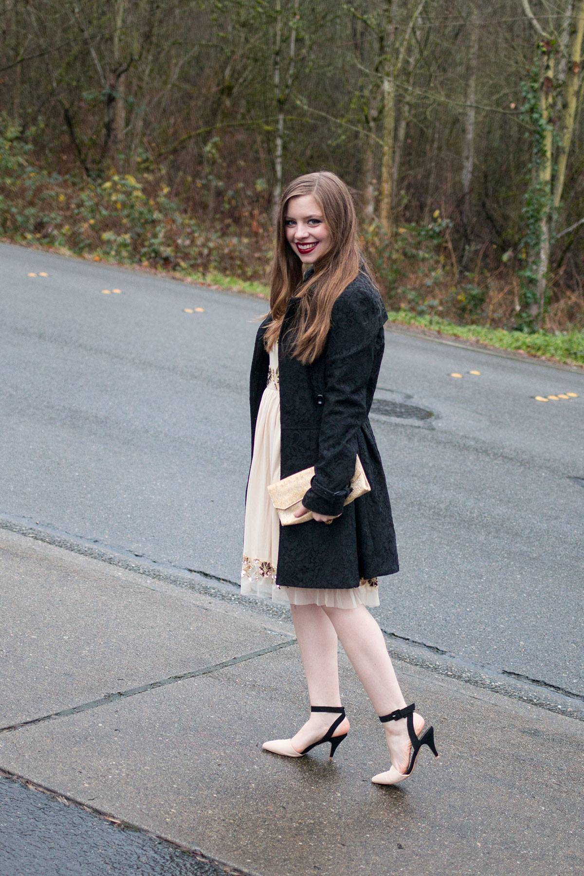 New Year Outfit Ideas: Dressy Outfit Frock & Frill Embellished Skater Dress Outfit // hellorigby seattle fashion & beauty blog