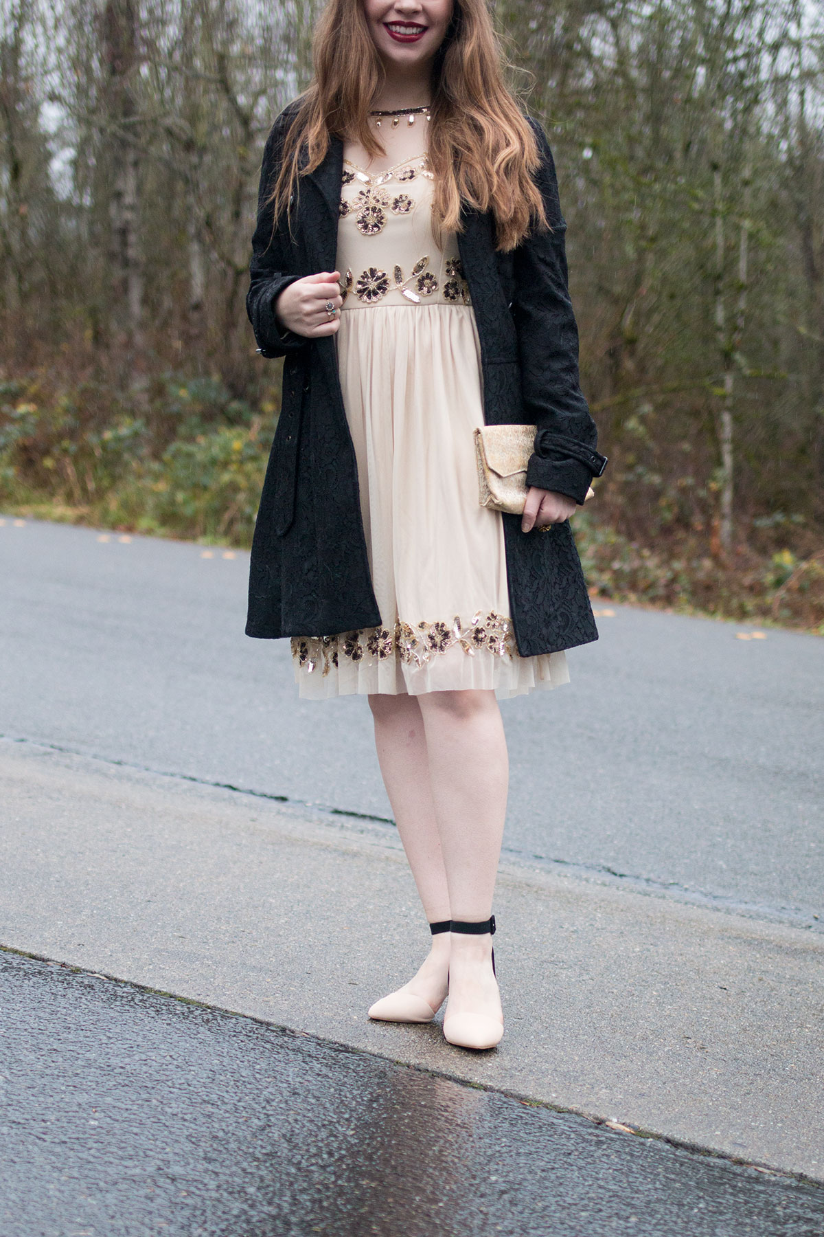 New Year Outfit Ideas: Lace Trench Coat and Frock & Frill Embellished Skater Dress Outfit // hellorigby seattle fashion & beauty blog