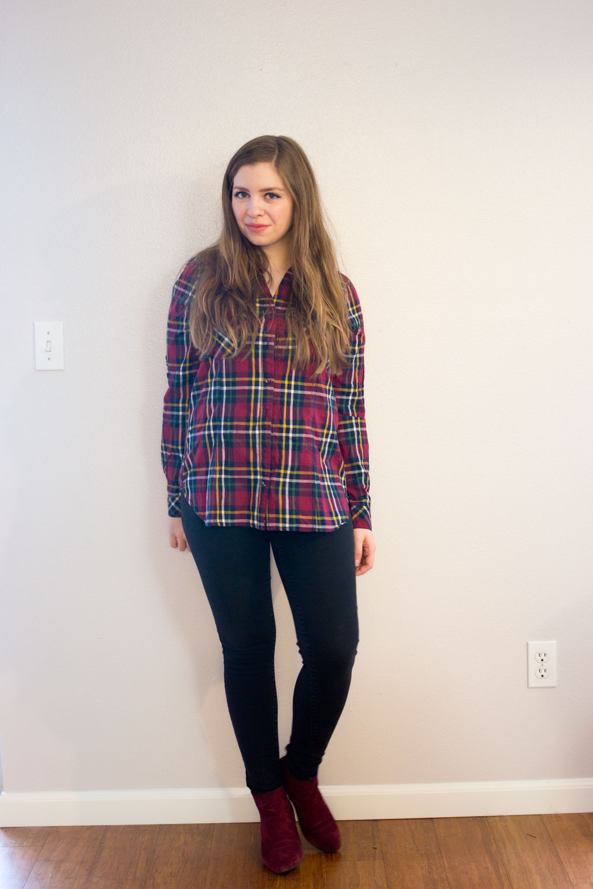 Stitch Fix December 2015: Skies are Blue Charlene Plaid Cotton Button Up // hellorigby.com seattle fashion & style blog