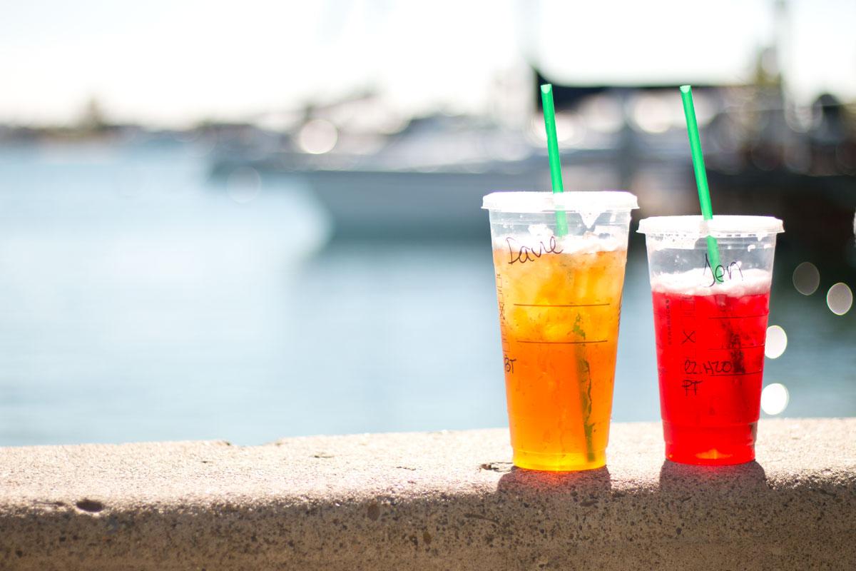Starbucks Iced Tea at Balboa Island Beach // Hello Rigby Seattle Fashion & Lifestyle Blog