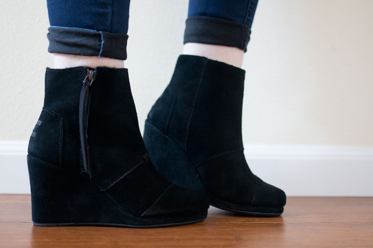 Nordstrom Half Yearly Sale 2015: TOMS Desert Wedge High Bootie in Black // hellorigby seattle fashion & beauty blog