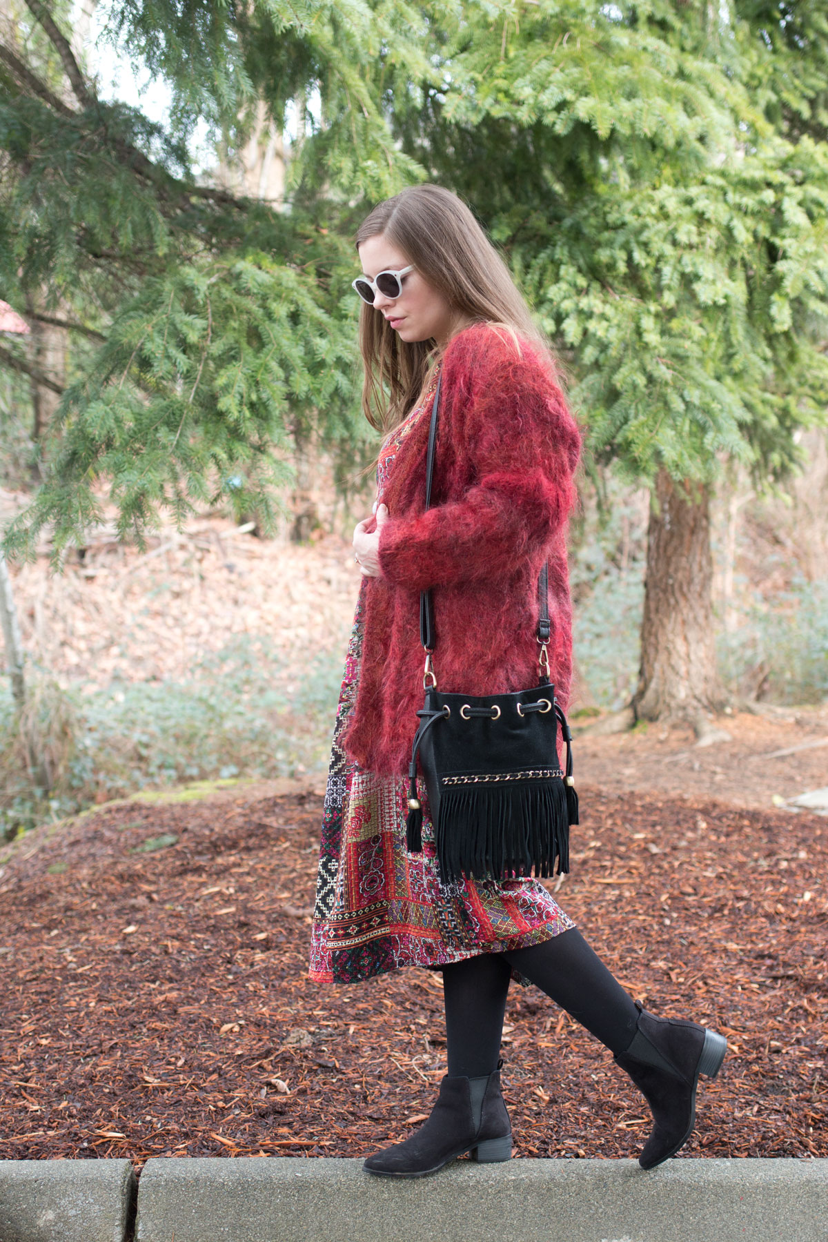 Zara Patchwork Midi Dress & Furry Coat Outfit // Winter Boho Outfit // Hello Rigby Seattle Fashion & Style Blog
