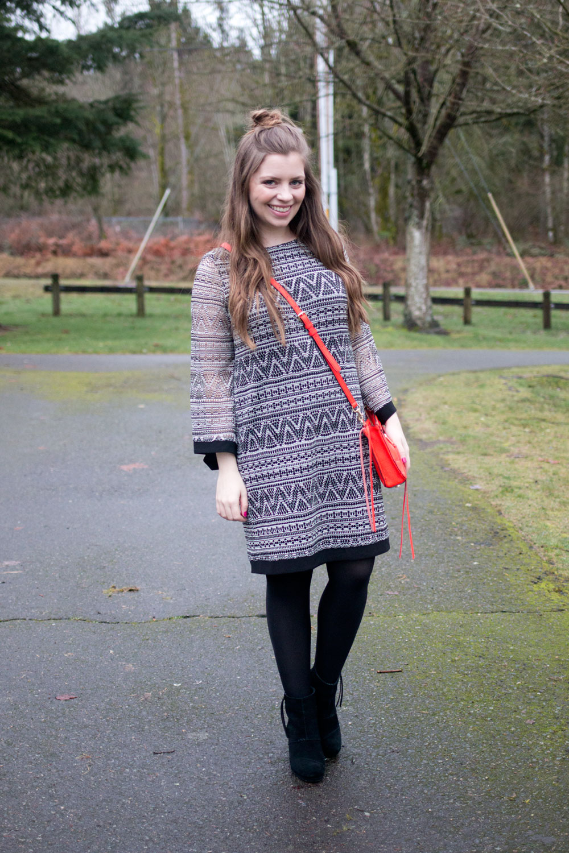 Black & White Bell Sleeved Dress with Rebecca Minkoff Regan Crossbody Bag in Poppy // Hello Rigby Seattle Fashion & Style Blog