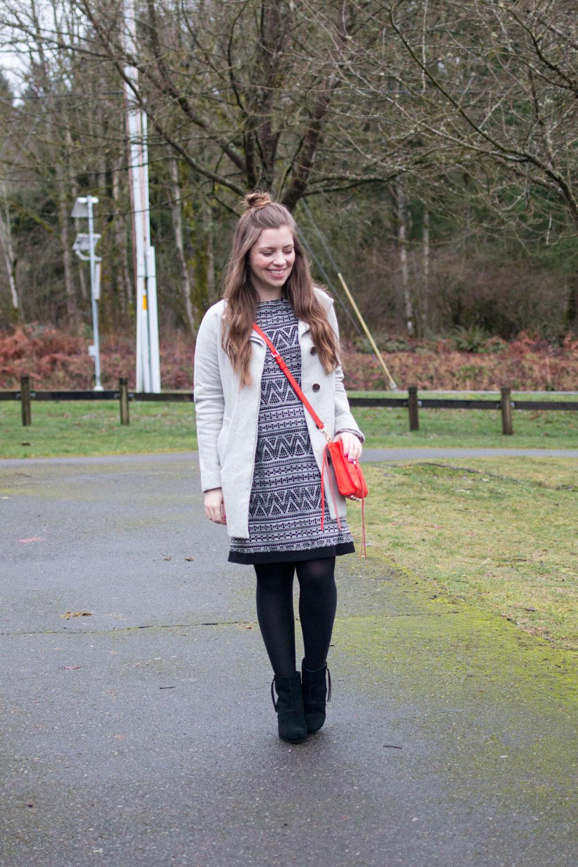 Black & White Tribal Crochet Dress for Winter // Hello Rigby Seattle Fashion & Style Blog