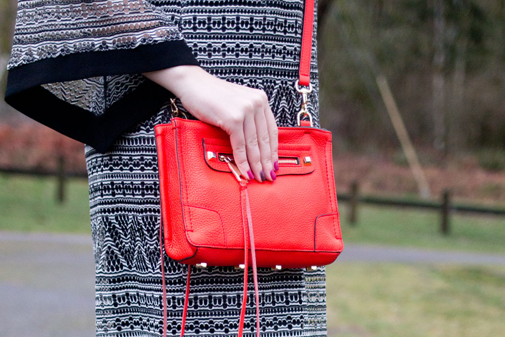 Rebecca Minkoff Regan Crossbody Bag in Poppy with Black & White Dress Outfit // Hello Rigby Seattle Fashion & Style Blog